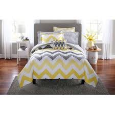 yellow and gray bedroom: mainstays yellow grey chevron bed in a bag bedding comforter set downstairs guest bedroom grey yellow and navy