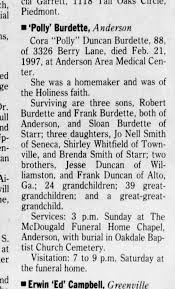 """Cora """"Polly"""" Duncan Burdette Obituary Saturday February 22, 1997 pg 38 -  Newspapers.com"""