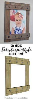 Change out your photo prints super easy with a sliding farmhouse style frame.  Make these