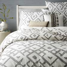 modern duvet covers west elm amanda lane feathers gray cream pattern duvet cover cotton queen contemporary