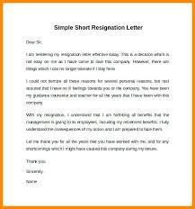 Short Resignation Letter Letter Of Resignation Without Notice Letter