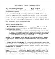 retainer consulting agreement sample retainer agreement 6 example format