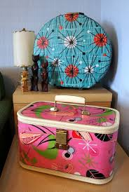 mid century atomic pink flamingo print polka dot retro vine upcycled traincase perfect for pinup make up train case