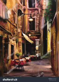 italian outdoor european cafe painting