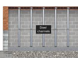 cinder block wall repair. Plain Cinder Cinder Block Wall Stabilization Steel Beams Holding Basement Wall Back   Remodeling Contractors With Repair M