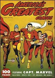 cap leads the way the other fawcett heroes are spy smasher in his original brown costume bulletman minute man and mr