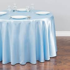 round satin tablecloth baby blue