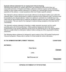 Witness Statement Letter Template Sample Form Nenne Co