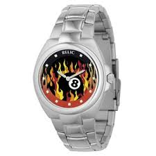 relic mens watch flaming 8 ball graphic dial and silvertone relic mens watch flaming 8 ball graphic dial and silvertone link band