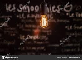 Light Bistro Modern Light Bulb In Eco Friendly Bistro Stock Photo