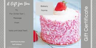 Custom Gift Certificate Templates Free Gift Certificate Templates For A Bakery