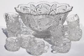 vintage imperial glass punch set whirling star pattern pressed glass in the style of cut glass