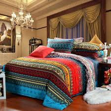 indian inspired bedding aqua blue and garnet red vintage style exotic pattern multi color stripe print