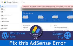how to fix adsense earnings error ads