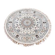 foot decor 2 entracing 4 round rug 3 2 x3 wool and silk 300 kpsi ivory nain hand knotted oriental round rug sh39724