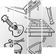 Canvas Cartoon Muziek Instrumenten Kleurplaat Pixers We Leven