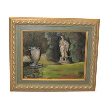 painting oil painting garden animated with initials lower right