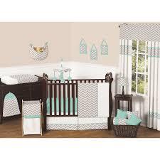 baby nursery inspiring uni room decorating ideas using light grey zigzag sweet jojo bedding including valance and rectangular cherry wood cribs impressiv