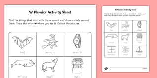 Includes differentiated support and independent sheets. W Phonics Worksheet Worksheet Irish Worksheet