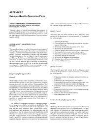 Quality Assurance Plan Example Appendix B Example Quality Assurance Plans Quality Assurance In
