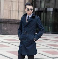 2018 high quality slim trench coat men overcoat mens clothing belt double ted outerwear casaco masculino casual dark blue 9xl from cyril03