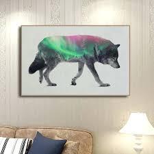wolf wall decor spray printed forest wolf wall decor art unframed oil wolf wall decor art