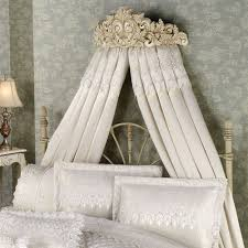 Artistic Carving and Gorgeous Canopy Bed Curtains Decorating the Classic  Bed and Elegant White Bedding