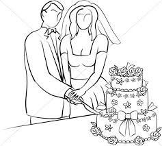 cutting the wedding cake clipart. Fine Clipart Stylized Bride And Groom Cutting Cake On The Wedding Clipart W