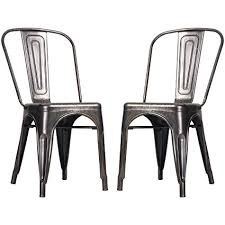 vintage metal dining chairs. Interesting Chairs Merax High Back Steel Stackable Vintage Metal Dining Chair Golden Black  Set Of 2 To Chairs I