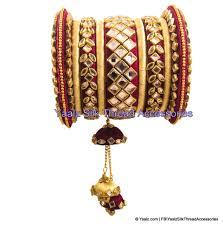 Bridal Bangle Set Designs Silk Thread Heavy Kundan Stone Bridal Bangle Set In Maroon