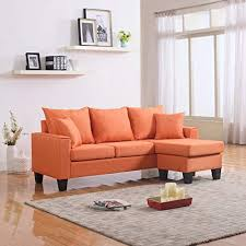 Couches for small spaces Modular Divano Roma Furniture Modern Linen Fabric Small Space Sectional Sofa With Reversible Chaise orange Amazoncom Couches For Small Spaces Amazoncom