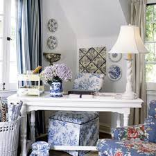 romantic decor home office. hereu0027s a home office with character painted library table is used as desk and paired toilecovered slipper chair in blue whi romantic decor