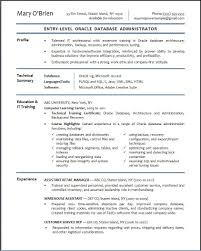 Entry Level Admin Resume Generous Curriculum Vitae Database Administrator Gallery Entry 21