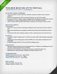 welder functional resume sample