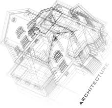 architectural drawings of buildings. Architectural Background With A 3D Building Model. Part Of Project, Plan, Technical Drawing Letters, Drawings Buildings N