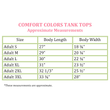 Comfort Colors Size Chart Tank Lake Life Comfort Colors Tank Top Bright Salmon