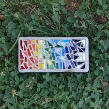 rainbow stained glass mosaic stepping stone