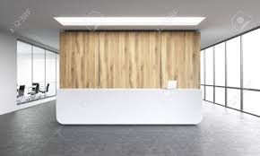 office reception images. Empty Office, White Reception At Wooden Wall. Panoramic Window Right,  Meeting Room Left Office Images S