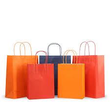 China White Kraft Paper Bags Orange with Handles Custom Logo Printing 140GSM Disposable Take-out Bags - China Kraft Paper Bag and Paper Bags with Handles price