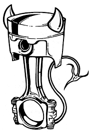 Cartoon piston drawing on motorcycle engine head