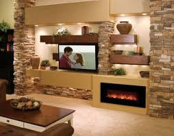 fireplace and media wall decorated with stone