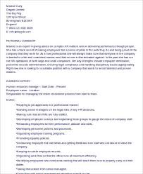Hr Manager Resume Format Sample Hr Manager Resume 9 Examples In Word Pdf