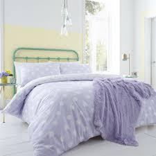 catherine lansfield polka dot reversible duvet cover set lilac single linens limited