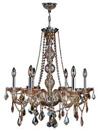 provence 6 light chrome finish and amber crystal chandelier 24 d x 28