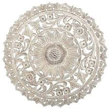 wooden wall medallion white wood wall art unique carved whitewash round wall decor