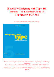 Designing With Type The Essential Guide To Typography Pdf Ebook Designing With Type 5th Edition The Essential Guide