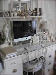 Shabby chic home office Sophisticated Check Out This Womans Pinlots Of Ideas For An Officestudio Like The Glass Top White Pots Etc Kristi Conlon New Shabby Chic Girl Cave Home Pinterest 117 Best New Shabby Chic Girl Cave Home Office Decor Ideas Images