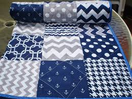 Nautical Baby quilt, navy, grey, chevron, crib quilt, baby girl ... & Patchwork · Nautical Baby quilt ... Adamdwight.com
