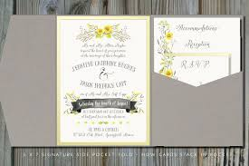 Wedding Invitation Folding Summery Yellow Gray Pocket Fold Wedding Invitation Envelopme Com