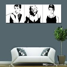 best marilyn monroe and audrey hepburn painting picture print on canvas with wooden framed for modern home wall decoration ready to hang under 24 83
